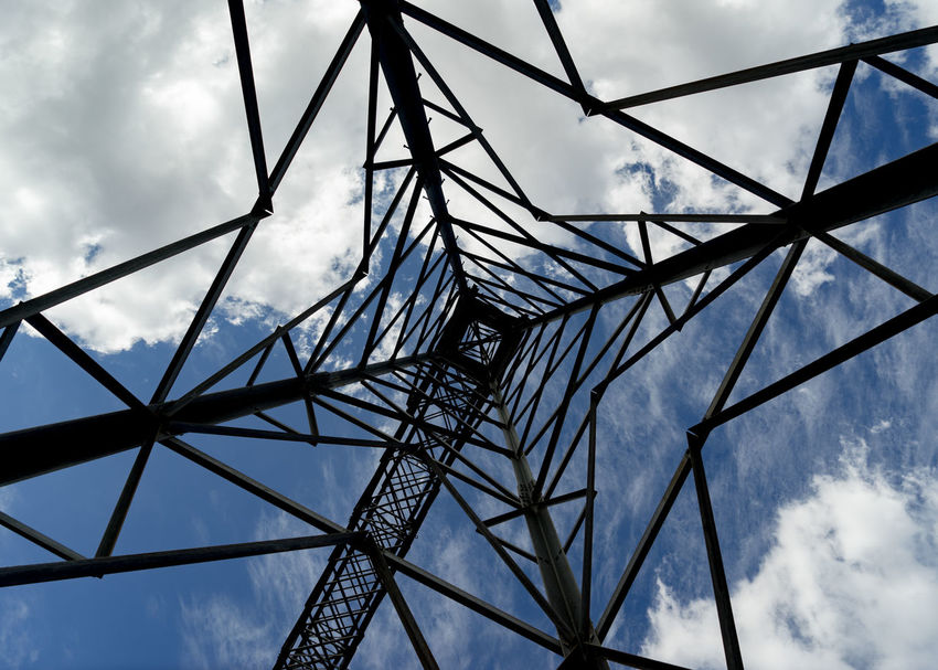 Architecture Built Structure Cable Cloud - Sky Complexity Connection Day Directly Below Electricity  Electricity Pylon Fuel And Power Generation Girder Low Angle View Metal Nature No People Outdoors Pattern Power Line  Power Supply Sky Technology