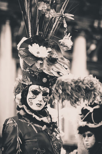 Woman Wearing Venetian Mask At Carnival Of Venice