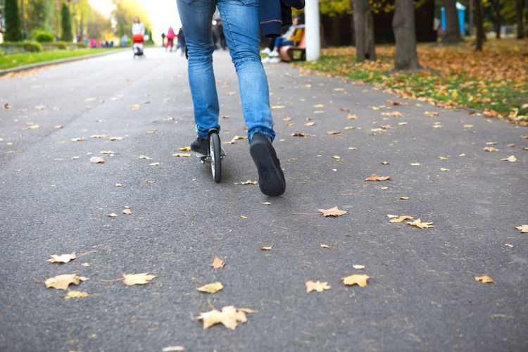 Low section of woman walking on road during autumn