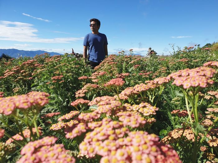 Young man looking away while standing amidst flowering plants against sky