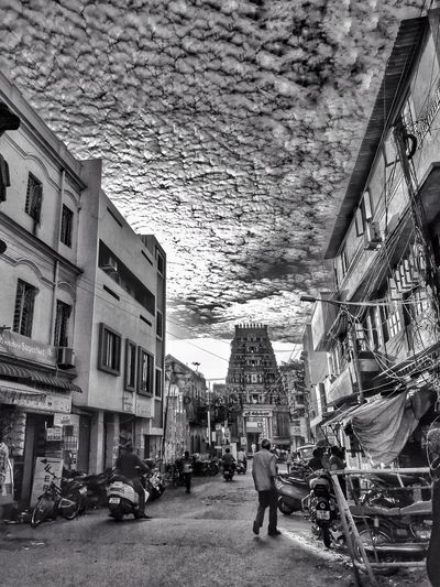 Busy Street Road Cloudscape Clouds Clouds And Sky Bnw Blackandwhite Monochrome City Streets Town Temple Tamilnadu India The Week on EyeEm Sky And Clouds Street Scene Residential Structure Human Settlement TOWNSCAPE EyeEmNewHere