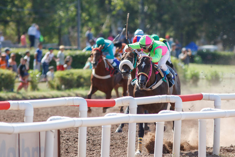 People Riding Horses During Sports Race