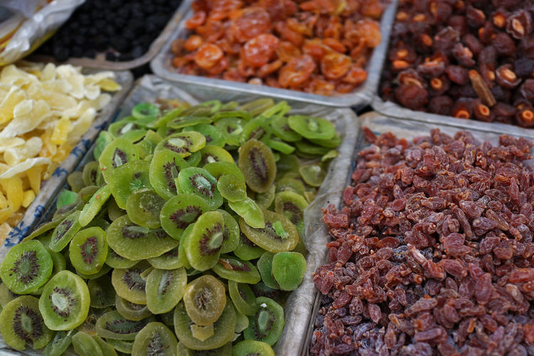 Close-up of dried fruits for sale in market