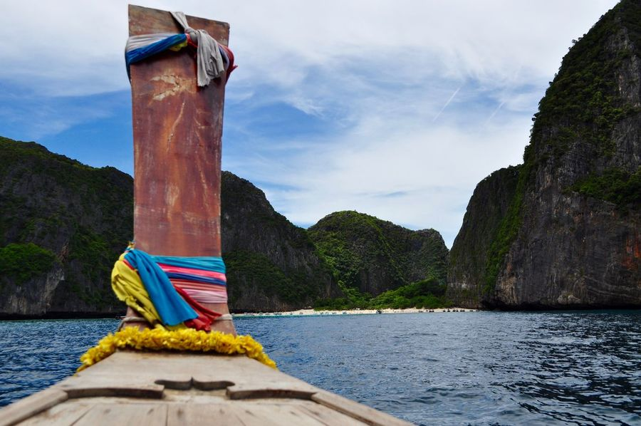 Beauty In Nature Boat Feel The Journey Outdoors Sky Thailand The Beach  Water Maya Bay