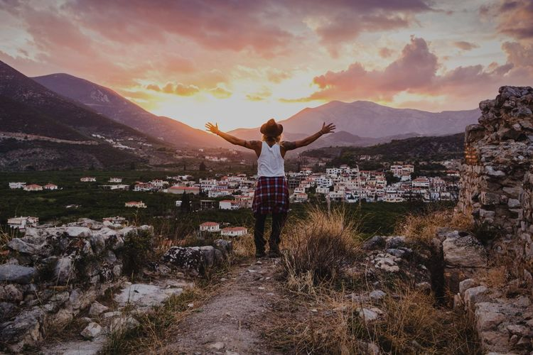 2018 can be definitely rated as one of the best years of my life, filled with travel and new friends and new perspectives. Adventure always led me to new horizons, and 2019 is looking great for change! Sunset Greece Adventure Travel The Week on EyeEm EyeEm Best Shots 2018 In One Photograph Sky Human Arm Rear View One Person Leisure Activity Cloud - Sky Real People Standing Beauty In Nature Sunset Mountain Nature Scenics - Nature Casual Clothing Arms Outstretched Moments Of Happiness It's About The Journey 2018 In One Photograph