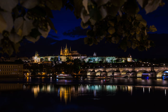 Architecture Building Exterior Built Structure Castle City Czechoslovakia Illuminated Night No People Outdoors Place Of Worship Prague Reflection Sky Tschechien Tschechischen Republik Water