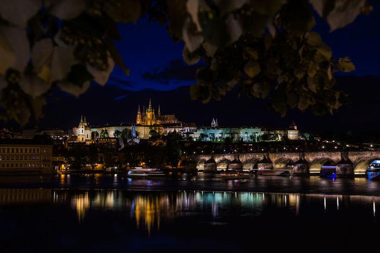 Architecture Building Exterior Built Structure Castle City Czechoslovakia Illuminated Night No People Outdoors Place Of Worship Prague Reflection Sky Tschechien Tschechischen Republik Water