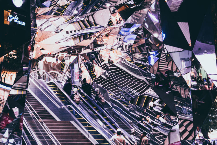 Group Of People City Architecture Crowd Large Group Of People High Angle View Built Structure Building Exterior Street City Life Outdoors Mirror Stairs Omotesando Capture Tomorrow Humanity Meets Technology