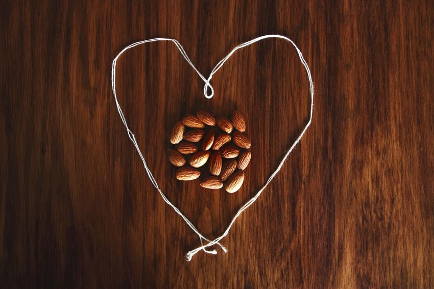 Diet Handpicked Earthy Wholesome Local Food And Drink Fresh Organic Natural Group Nut Almond Wellness Healthy Health Wholesome Twine Yarn Cardiac Heart Heart Shape Wood - Material Table No People Indoors  Food Healthy Eating Freshness Day Close-up