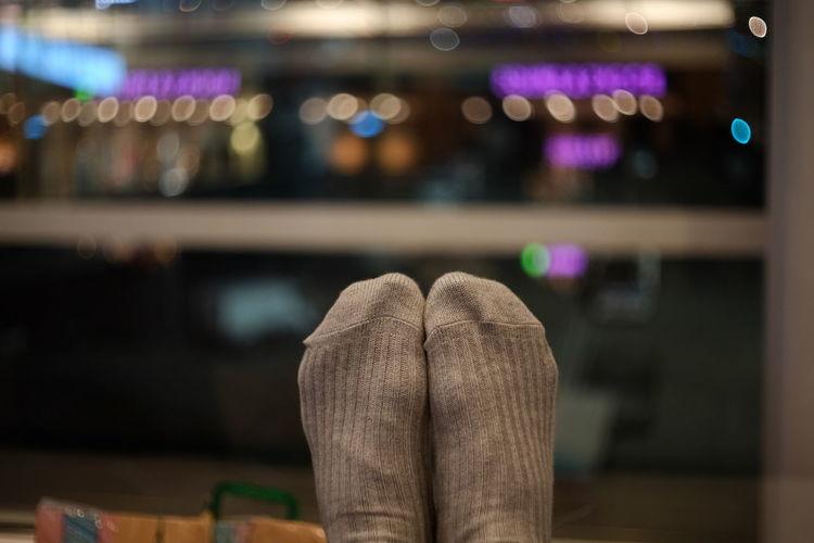 Low section of man wearing socks