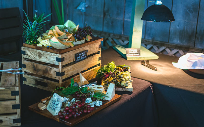 High angle view of food on seat in illuminated room