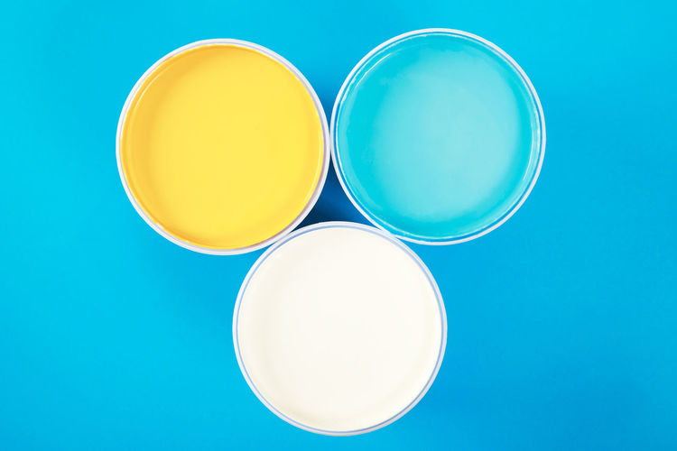 High angle view of tea against blue background
