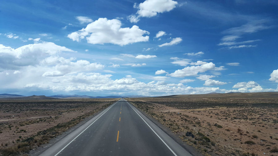 Bolivia Arid Climate Blue Cloud - Sky Day Desert Landscape Nature No People Outdoors Road Scenics Sky Sun The Way Forward Travel Way