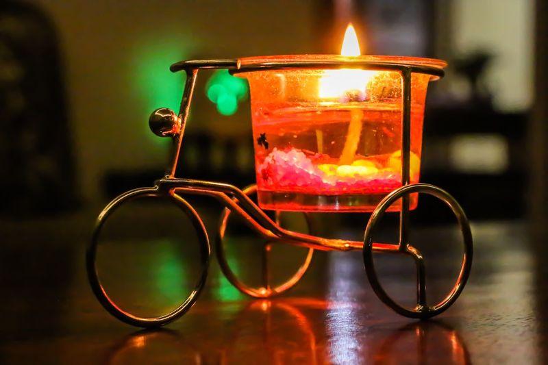 Indoors  Table No People Close-up Flame Burning Heat - Temperature Illuminated Day Diwali