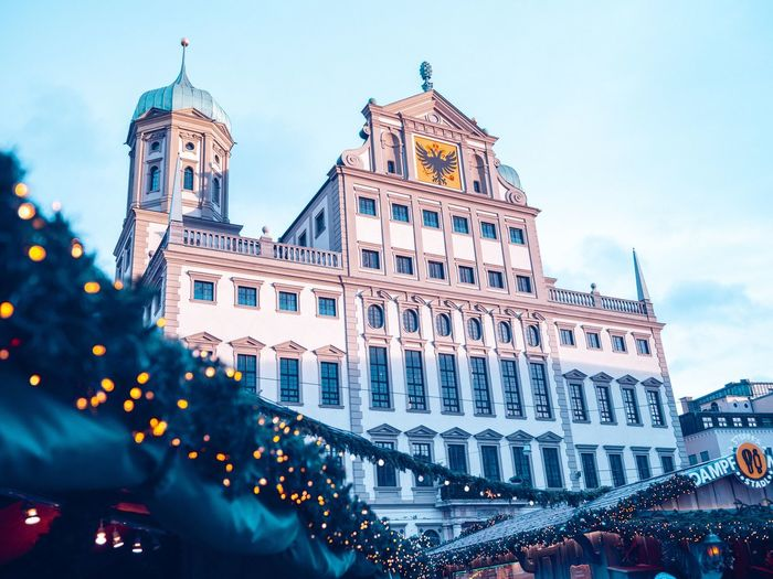 City hall Augsburg City Hall Christmas Decoration Augsburg Building Exterior Architecture Built Structure City Sky Illuminated Travel Destinations Building Travel Tourism Street Christmas Low Angle View History
