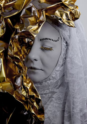 human venetian sculpture Close Up Closed Eyes Extreme Makeup Fake Eyebrows Fake Lashes Fantasy Folie Gold And White Gold Colored Gold Film Gold Folie Gold Sheet Human Sculpture Indoors  Lace One Woman Only Portrait Sculpture Statue Venetian Mask Venetian Style White Lace The Creative - 2018 EyeEm Awards