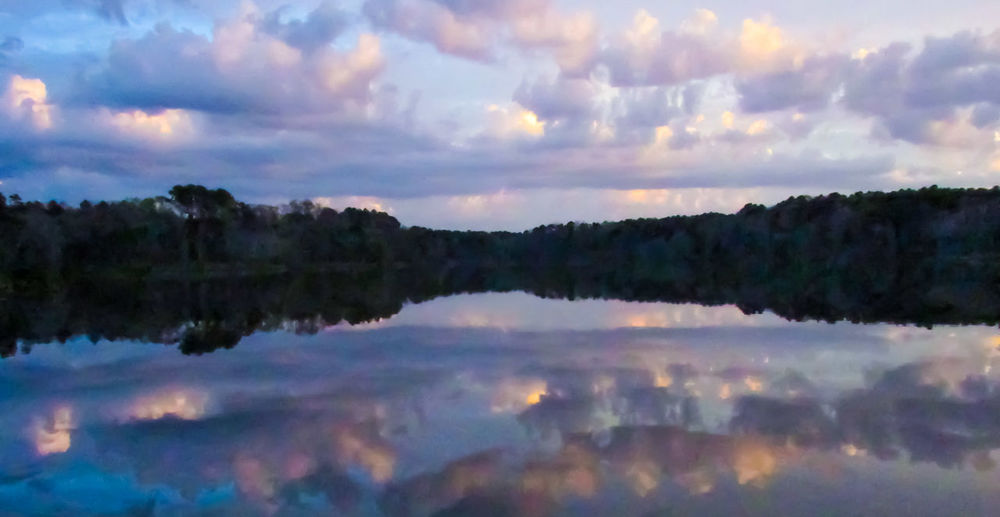 moody sky Water Reflections Tree Line Tree Lined Water Moody Sky Moodygrams Cloud - Sky Sunset Beauty In Nature Landscape Waterscape Water Lake Lake View Lake Copiah Mississippi  Silhouette Outline Romantic Pastel Power Pastel Colors