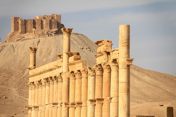 ASIA Ancient Archeology Colonnade Desert East Empire Palmyra Ruins Syria  Travel Arabic Buildings Architecture Castle Ruin Civilisation Columns History Monument Old Ruin Oriental Restoring Roman Ruined Temple Tourism Unesco