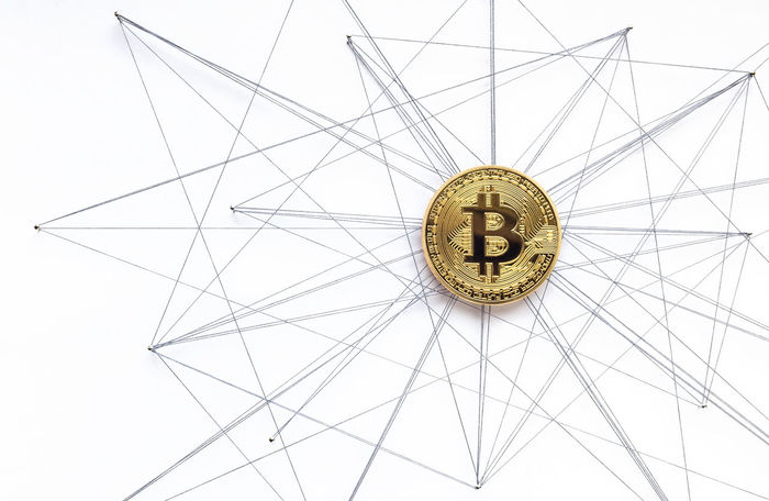 Blockchain Bitcoin visualization Bitcoin Blockchain Technology Circle Close-up Communication Complexity Connection Creativity Design Geometric Shape Indoors  Low Angle View Metal Network No People Pattern Shape Still Life Studio Shot Technology Text Western Script White Background