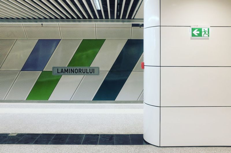Noua statie de metrou Laminorului Subway Station Built Structure Indoors  Architecture Steps And Staircases Exit Sign No People Day laminorului