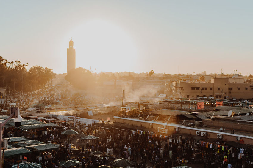 Dusk in Marrakech Ariel Busy City Market Morocco MoroccoTrip Square Travel Travel Photography Citylife Day Dusk Market Stall Marketplace Marrakech Mosque People Sunset Travel Destinations
