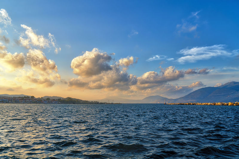 Landscape Evening Sunset Sky Cloudscape Horizon Water Scenics - Nature Beauty In Nature Nature No People Outdoors Harbor Lixouri Greece Cloud - Sky Sea Waterfront Tranquil Scene Tranquility Non-urban Scene Idyllic Mountain Blue Remote Day
