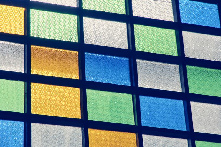 Full Frame Pattern Backgrounds Indoors  Multi Colored No People Seamless Pattern Close-up Architecture Day Colors Colorful Green Red Color Window Lines Yellow Color Glass Windows Glass Vintage Photo