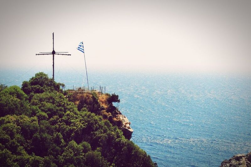 Vintage Style Greece Culture Water Blue Sky Mountain Green Landscape Soft Waves Fade Greek Flag Traveling Feel The Journey Original Experiences Exploring Relaxing Fresh On Eyeem  The Innovator Showcase June Fine Art Photography Adapted To The City