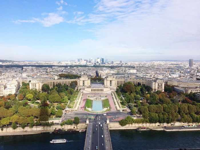 Architecture Built Structure Water Sky Travel Destinations City Cityscape Building Exterior River Day Travel High Angle View Outdoors Cloud - Sky No People Tree Nature Vacations View From Above France Paris Tourism Travel