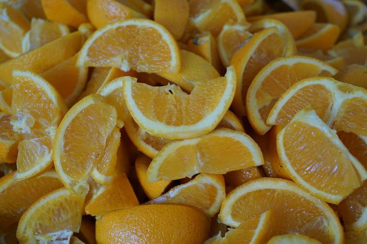 Full Frame Shot Of Sliced Oranges