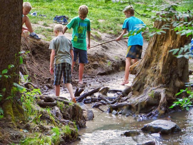 Summer Views Playing in the creek - for children a paradise What Means Summer? Eyem Best Shots Tadaa Community Eye4photography  Children's Eyes