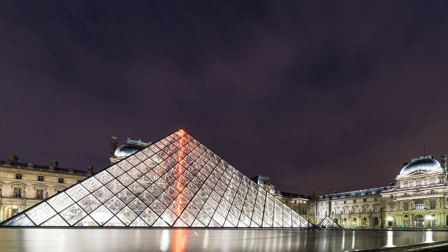 Light Architecture Building Exterior Built Structure Design Illuminated Modern Museum Musée Du Louvre Night No People Outdoors River Sky Travel Destinations