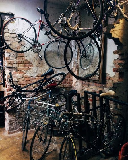 Bicycles parked in parking lot