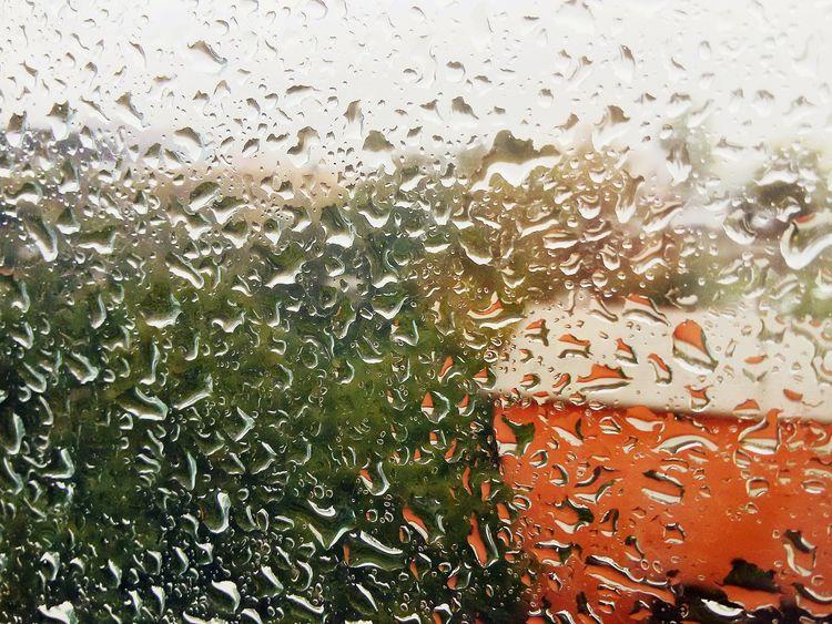 Raindrops Raining Autumn Rainy Day Window