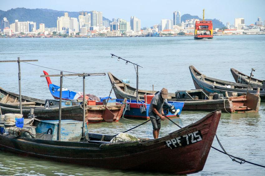 Nautical Vessel City Transportation Mode Of Transport Urban Skyline Harbor Water Sea Fishermen Ferry