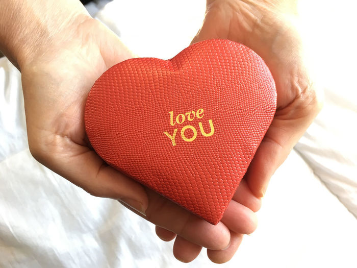 Close-up of human hand holding heart with love you text
