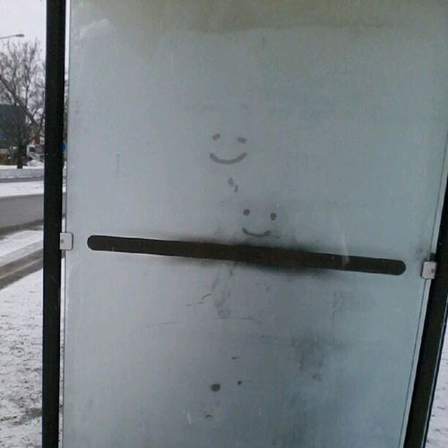 Smileys at the bus stop. Winterpasttime