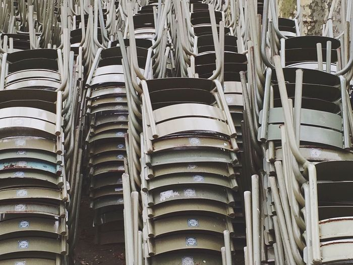 Stack of chairs on floor