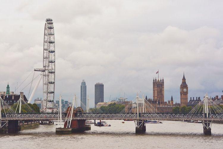 City against cloudy sky