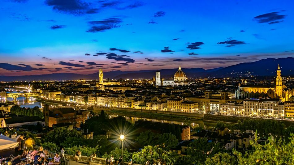 Florence Piazzalemichelangelo Toscana Toscany PalazzoVecchio Arno River Ponte Vecchio Duomo Di Firenze Ponte Vecchio - Firenze Santa Croce Cathedral Arno River Beautiful Dusk Canals And Waterways Italy🇮🇹 View Beautiful Night Nightphotography Tranquility Travel Destinations History Historical Monuments Historical Building Renaissance Bridge - Man Made Structure Architecture