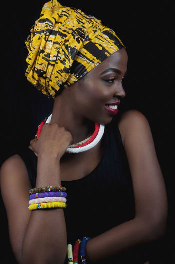 African Frabrics EyeEm Best Shots Redhead Accessories African Beauty Black Clothing Fashion Fashion Accesories Headwrap  Indoors  Lifestyles One Person Portrait Real People Women Yellow Young Adult