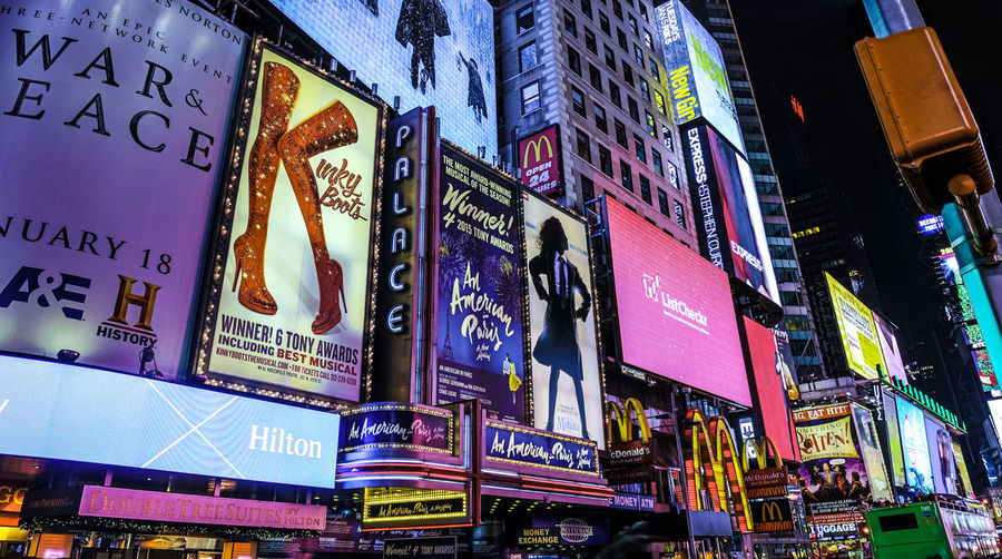 Advertising Advertisment Age Architecture Billboards Broadway Building Exterior Built Structure Busy City Commercial Enjoying Life Future Information Life Lights Model New York Night Outdoors People Posters Spectacle Thater Times Square
