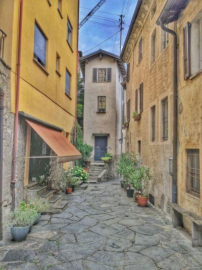 Architecture Cobblestone Day Gandria Lago Di Lugano  Oldtown Plants Street