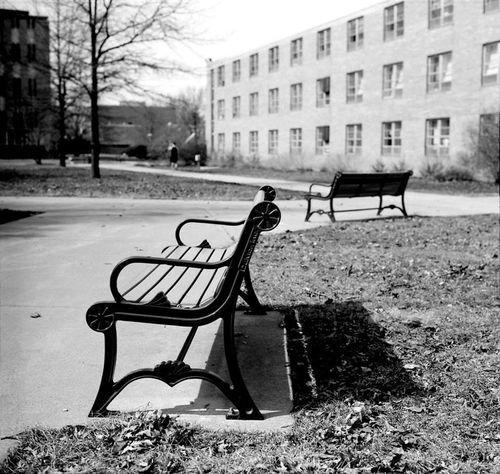 Benches. Hasselblad Film Filmisnotdead Mediumformat 6x6 Macomb Illinois Bokeh