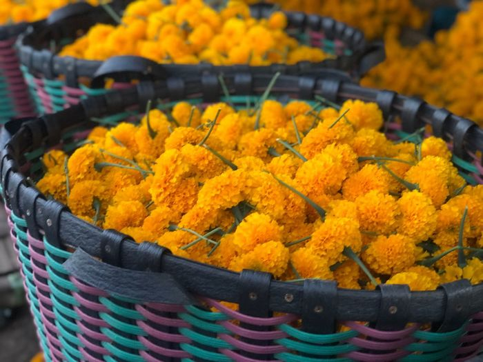 Close-up of marigold flowers in basket for sale