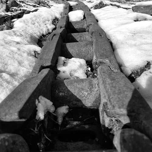 Neither a wise man nor a brave man lies down on the tracks of history to wait for the train of the future to run over him. Dwight D. Eisenhower Snow Snow ❄ Tracks Photography Forest Photography White Business Stories Lines And Shapes Shades of Winter Photography Photo Fotografia Fotography Blackandwhite Black And White Black And White Collection  Black & White black and white friday Black And White Photography Black & White Photography Lines Lines And Shapes High Angle View Full Frame Day No People Backgrounds Sunlight Outdoors Close-up