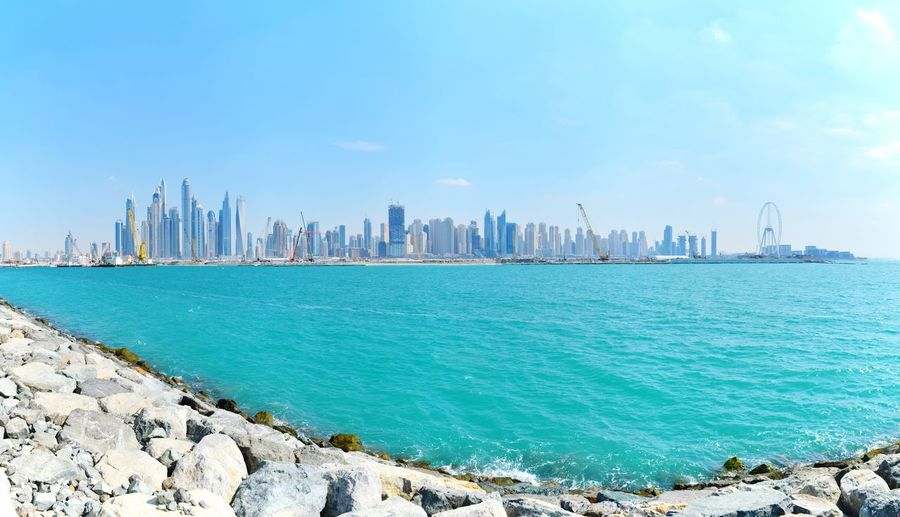 United Arab Emirates Dubai VAE Nature Beauty In Nature Panoramic Photography Panorama Beachphotography City Cityscape Urban Skyline Sea Skyscraper Modern Harbor Beach Downtown District Beauty Urban Sprawl Pier Office Building Tall - High Financial District  Coastline Panoramic Residential District Bay Of Water Tower