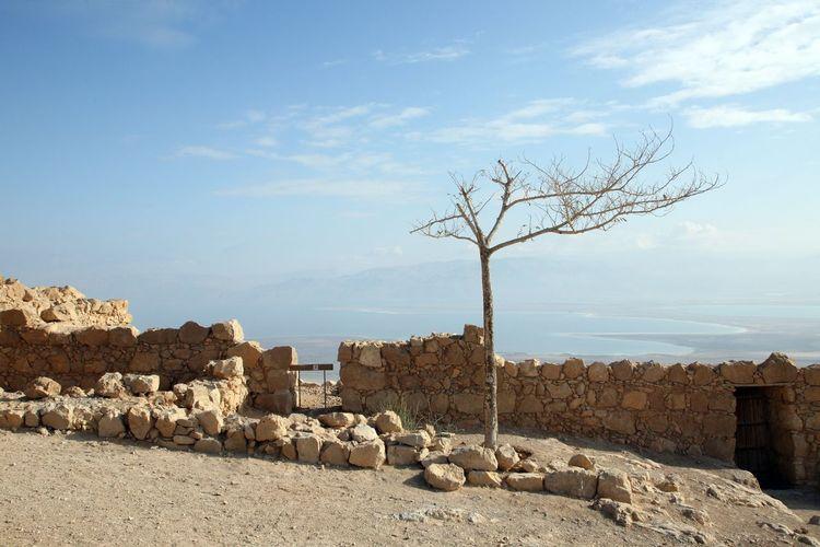 Masada fortress in Israel Ancient Arid Climate Dead Sea. Defense Desert Fortification Fortress History Israel Judea Masada Mountain Nature Palestine Rock Ruin Salt Salty Sea Stone Wall Wild