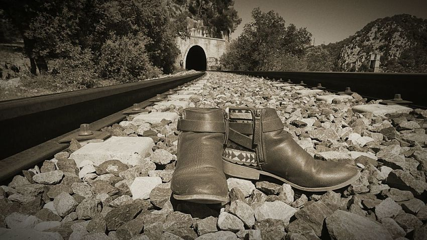 Perspective Pont Chemin De Fer Bottes Tunnel No People Rails Built Structure High Angle View Mountain Outdoors