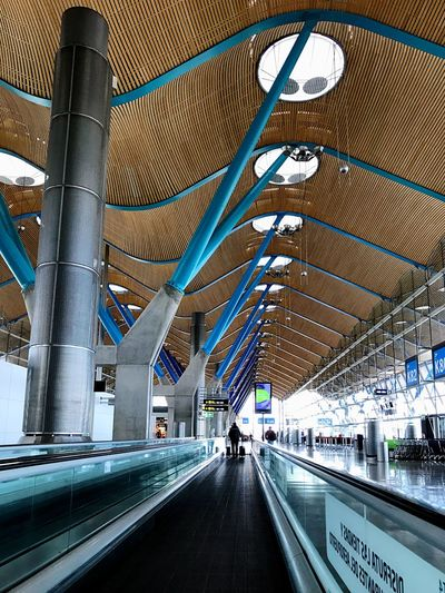 Adolfo Suarez- Barajas Airport Madrid SPAIN Barajas Airport EyeEm Selects Architecture Built Structure Modern Transportation Railroad Station Indoors  Station City The Way Forward Travel Travel Destinations Day People